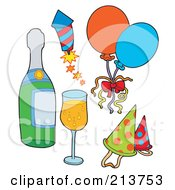 Royalty Free RF Clipart Illustration Of A Digital Collage Of New Years Items