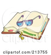 Royalty Free RF Clipart Illustration Of A Pair Of Glasses On An Open Book by visekart
