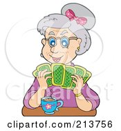 Royalty Free RF Clipart Illustration Of A Granny Playing Poker by visekart