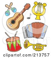 Royalty Free RF Clipart Illustration Of A Digital Collage Of Musical Instruments