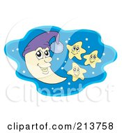 Royalty Free RF Clipart Illustration Of A Crescent Moon And Happy Stars In A Night Sky by visekart