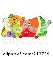 Royalty Free RF Clipart Illustration Of A Group Of Happy Fruit Over A Blank Sign by visekart
