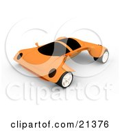 Clipart Illustration Of A Futuristic Orange Sports Car With The Wheels Sticking Out Far On The Sides by 3poD