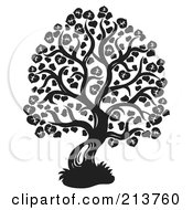 Royalty Free RF Clipart Illustration Of A Black And White Lime Tree Design