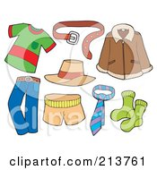 Royalty Free RF Clipart Illustration Of A Digital Collage Of Mens Clothes