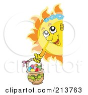 Royalty Free RF Clipart Illustration Of A Happy Summer Sun Holding An Easter Basket And Looking Around A Blank Sign