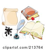 Royalty Free RF Clipart Illustration Of A Digital Collage Of A Scroll With Ink A Quill And Books