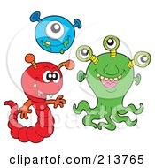 Royalty Free RF Clipart Illustration Of A Digital Collage Of Cute Monsters 1 by visekart