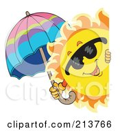 Royalty Free RF Clipart Illustration Of A Happy Summer Sun Holding An Umbrella And Looking Around A Blank Sign
