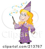Royalty Free RF Clipart Illustration Of A Cute Blond Wizard Girl Using A Magic Wand by visekart