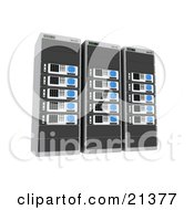 Row Of Three Blue Web Hosting Racks Of Server Towers