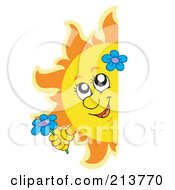Royalty Free RF Clipart Illustration Of A Happy Summer Sun Holding A Flower And Looking Around A Blank Sign