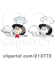 Digital Collage Of Color And Outlined Female Chef Signs 2 by visekart