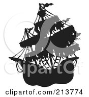 Royalty Free RF Clipart Illustration Of A Silhouetted Mysterious Pirate Ship 2