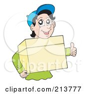 Royalty Free RF Clipart Illustration Of A Friendly Delivery Man Carrying A Box And Giving The Thumbs Up by visekart