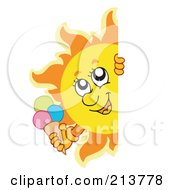 Royalty Free RF Clipart Illustration Of A Happy Summer Sun Holding An Ice Cream Cone And Looking Around A Blank Sign by visekart