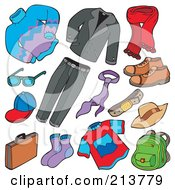 Royalty Free RF Clipart Illustration Of A Digital Collage Of Mens Apparel by visekart