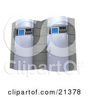 Clipart Illustration Of Two Chrome Web Hosting Racks Of Server Towers by 3poD