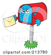 Poster, Art Print Of Happy Mailbox Holding A Letter