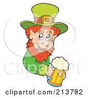 Royalty Free RF Clipart Illustration Of A Leprechaun Holding A Beer Mug Around A Blank Sign by visekart