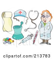 Royalty Free RF Clipart Illustration Of A Digital Collage Of A Friendly Doctor And Medical Items by visekart