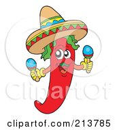 Royalty Free RF Clipart Illustration Of A Male Mexican Chili Pepper Shaking Maracas by visekart