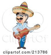 Royalty Free RF Clipart Illustration Of A Mexican Man Playing A Guitar by visekart