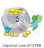 Royalty Free RF Clipart Illustration Of A Happy Pot Of Gold Coins Holding A Shamrock by visekart