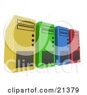 Clipart Illustration Of A Row Of Yellow Green Blue And Red Computer Server Towers by 3poD