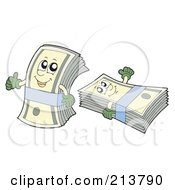 Royalty Free RF Clipart Illustration Of A Digital Collage Of Bundled Cash by visekart