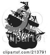 Royalty Free RF Clipart Illustration Of A Silhouetted Mysterious Pirate Ship 1