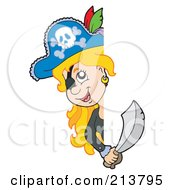 Royalty Free RF Clipart Illustration Of A Blond Female Pirate Looking Around A Blank Sign