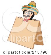 Royalty Free RF Clipart Illustration Of A Mexican Man Behind A Blank Sign