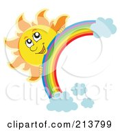 Royalty Free RF Clipart Illustration Of A Happy Sun Looking Over A Rainbow