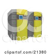 Clipart Illustration Of Two Yellow Web Hosting Racks Of Server Towers