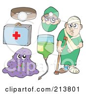 Royalty Free RF Clipart Illustration Of A Digital Collage Of A Headlamp First Aid Kit Virus Iv Doctor And Sick Man by visekart