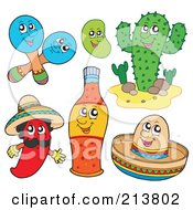 Digital Collage Of Maracas A Bean Cactus Chili Pepper Hot Sauce And Sombrero Characters