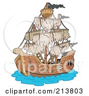 Royalty Free RF Clipart Illustration Of A Mysterious Pirate Ship by visekart