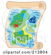 Royalty Free RF Clipart Illustration Of A Treasure Map With A Red X