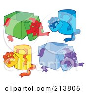 Royalty Free RF Clipart Illustration Of A Digital Collage Of Opened Gift Boxes by visekart