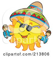 Royalty Free RF Clipart Illustration Of A Mexican Summer Sun