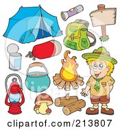 Royalty Free RF Clipart Illustration Of A Digital Collage Of A Camper And Camping Gear
