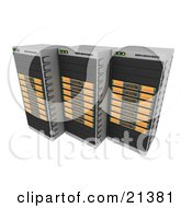 Row Of Three Orange Web Hosting Racks Of Server Towers