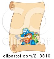Royalty Free RF Clipart Illustration Of A Pirate And Parrot On A Blank Parchment Scroll