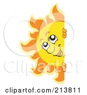 Royalty Free RF Clipart Illustration Of A Happy Summer Sun Looking Around A Blank Sign