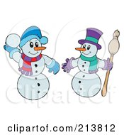 Royalty Free RF Clipart Illustration Of A Digital Collage Of Two Snowmen