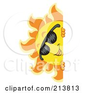 Royalty Free RF Clipart Illustration Of A Happy Summer Sun With Shades Looking Around A Blank Sign