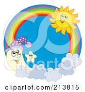 Royalty Free RF Clipart Illustration Of A Moon Star And Summer Sun Rainbow Circle