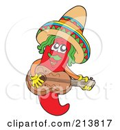 Royalty Free RF Clipart Illustration Of A Male Mexican Chili Pepper Playing A Guitar by visekart