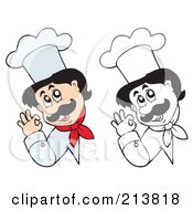 Digital Collage Of Color And Outlined Male Chef Signs 2 by visekart